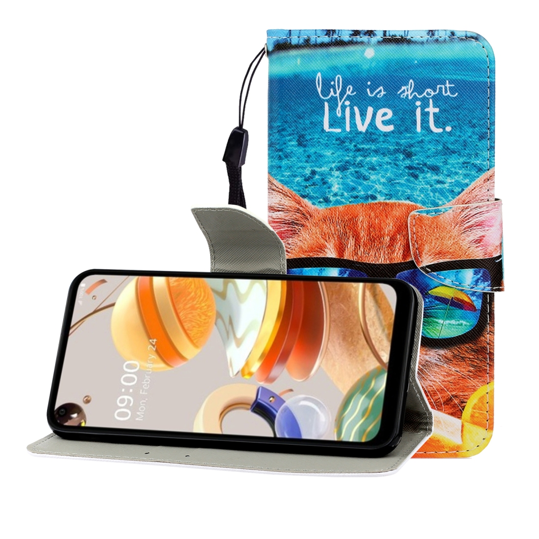 For LG K61 Colored Drawing Horizontal Flip Leather Case with Holder & Card Slot & Wallet (Underwater Cat)