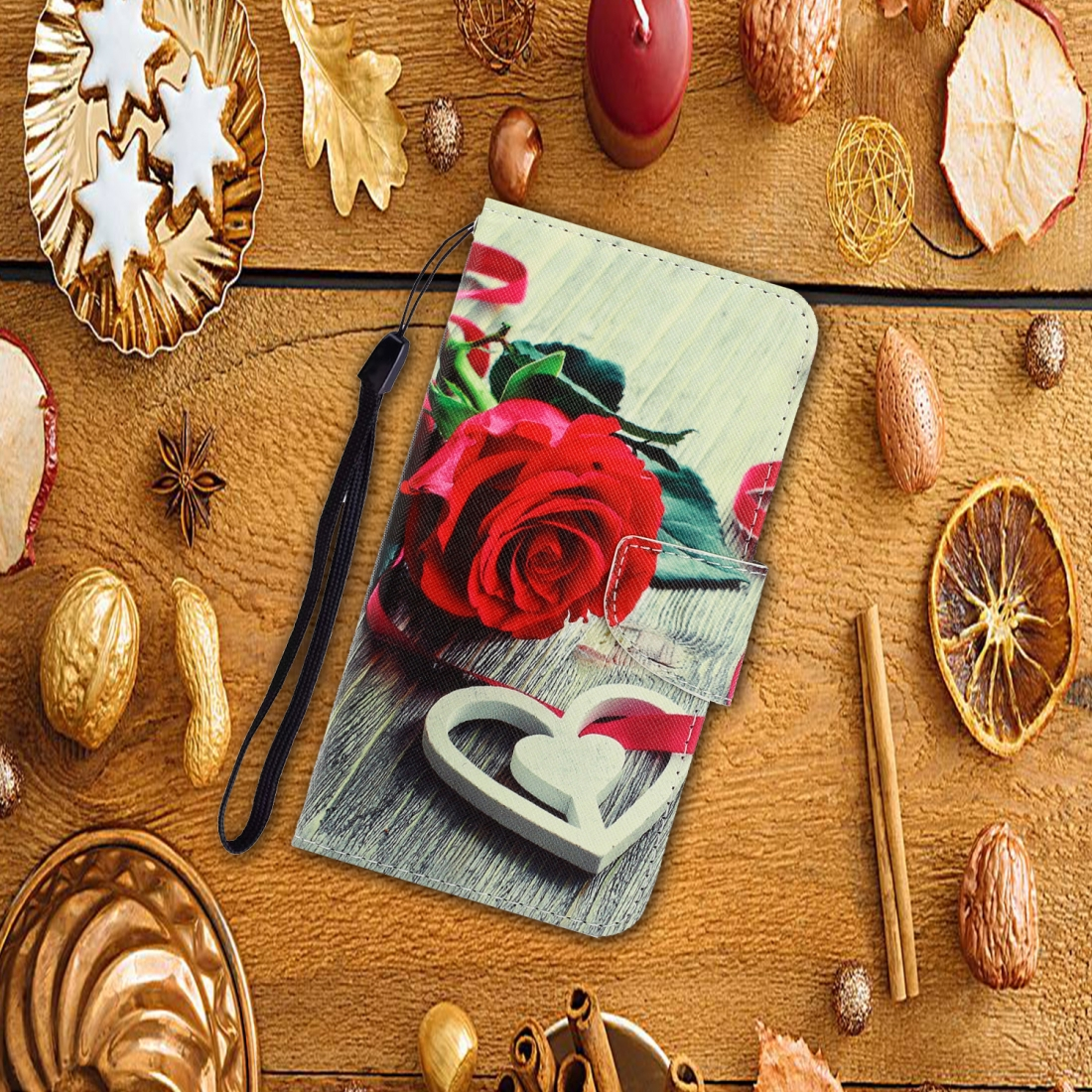 For LG K61 Colored Drawing Horizontal Flip Leather Case with Holder & Card Slot & Wallet (Red Rose)