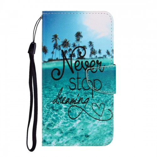 For LG K61 Colored Drawing Horizontal Flip Leather Case with Holder & Card Slot & Wallet (Blue Coconut Grove)