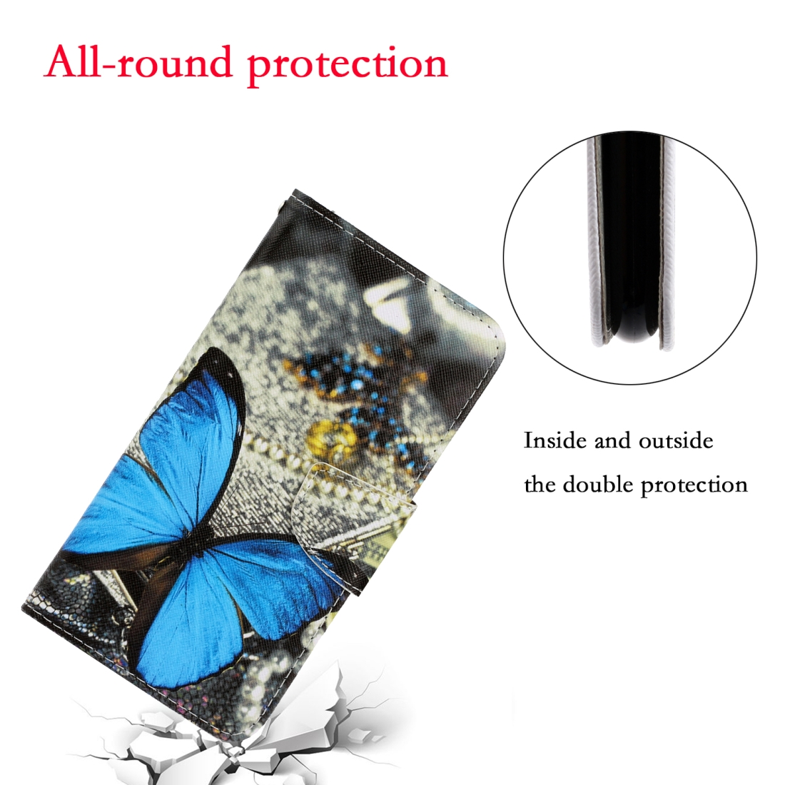 For LG K61 Colored Drawing Horizontal Flip Leather Case with Holder & Card Slot & Wallet (A Butterfly)