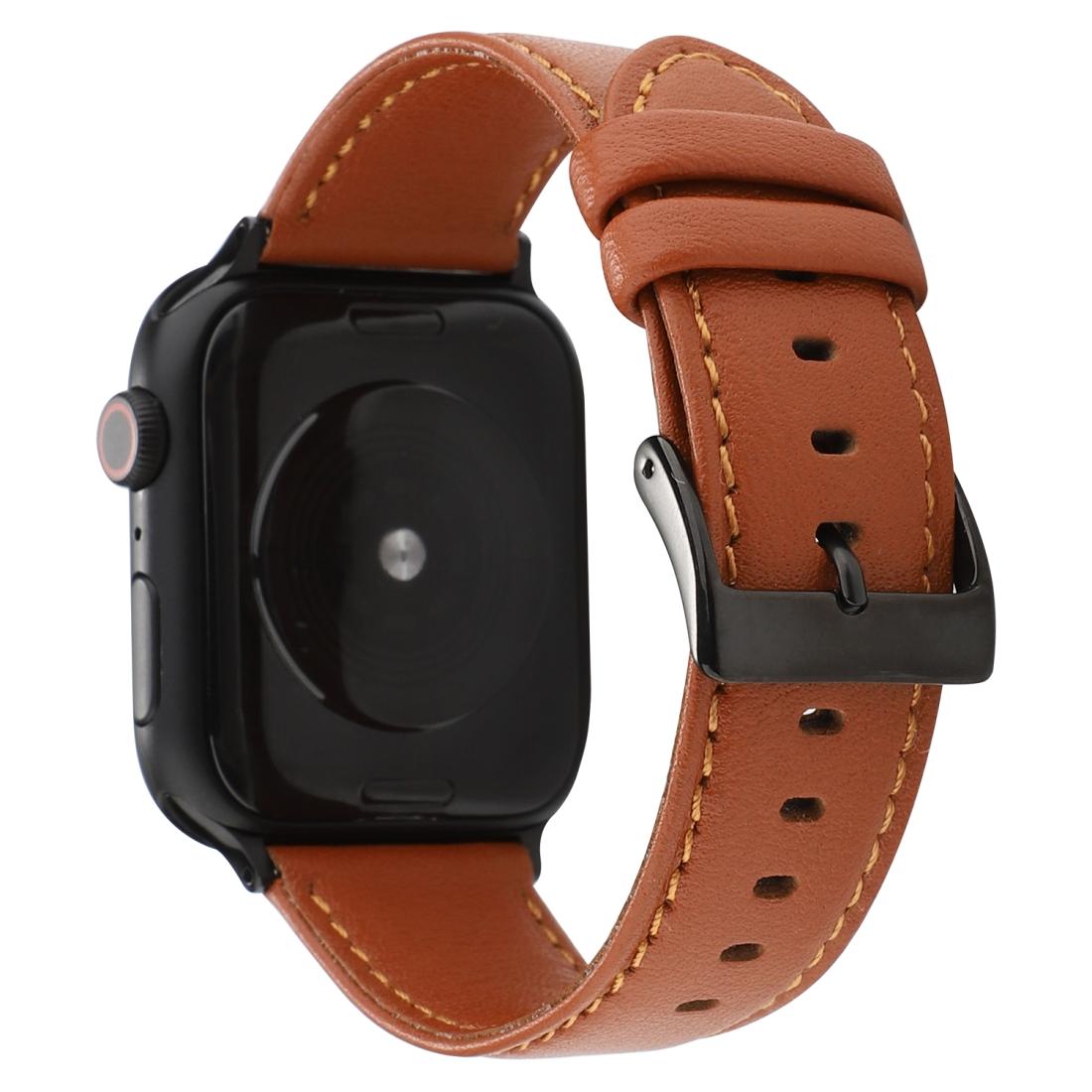 For Apple Watch Series 5 & 4 40mm / 3 & 2 & 1 38mm Cowhide ...