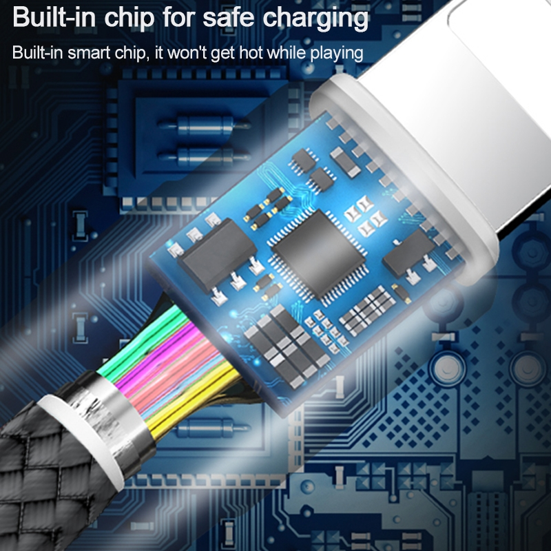 WIWU Elite Series ED-104 3 in 1 2.4A USB to 8 Pin + USB-C / Type-C + Micro USB Interface Nylon Braided Fast Charging Data Cable, Cable Length: 1.2m