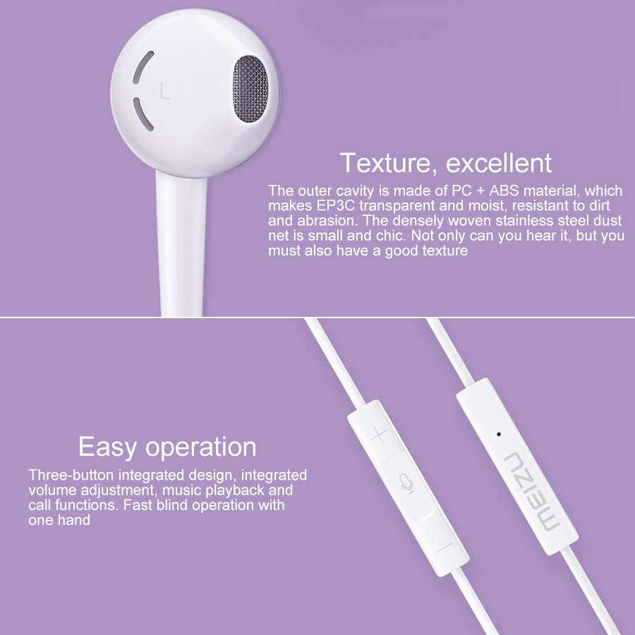 MEIZU EP3C USB-C / Type-C Jack In-ear Wired Control Earphone, Support Calls, Cable Length: 1.2m (White)