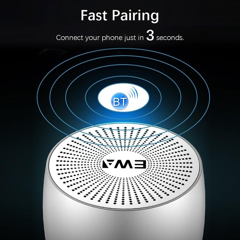 EWA A103 Portable Bluetooth Speaker Wireless Heavy Bass Bomm Box Subwoofer Phone Call Surround Sound Bluetooth Shower Speaker (Rose Gold)