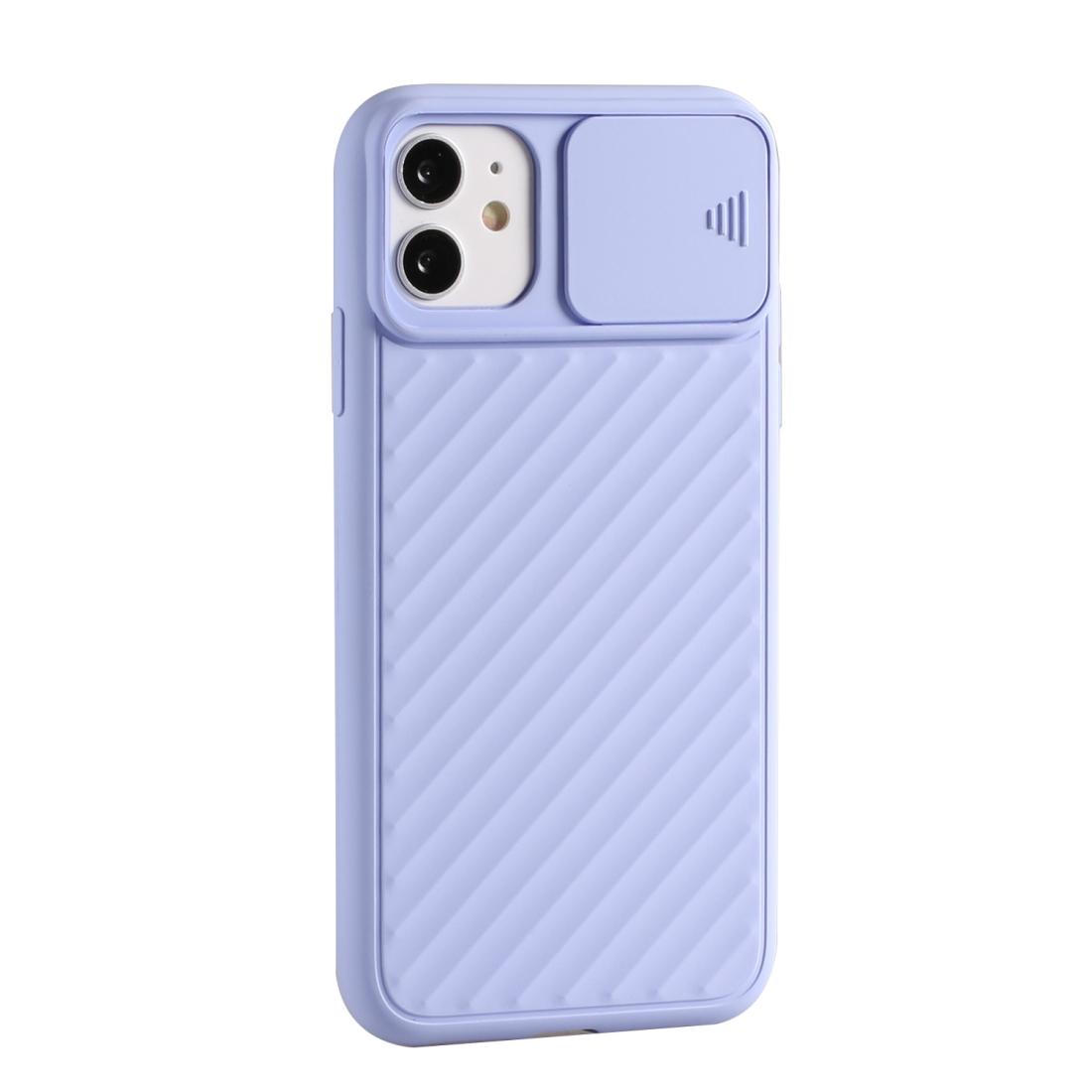 For iPhone 11 Pro Max Sliding Camera Cover Design Twill Anti-Slip TPU Case (Purple)  Alexnld.com