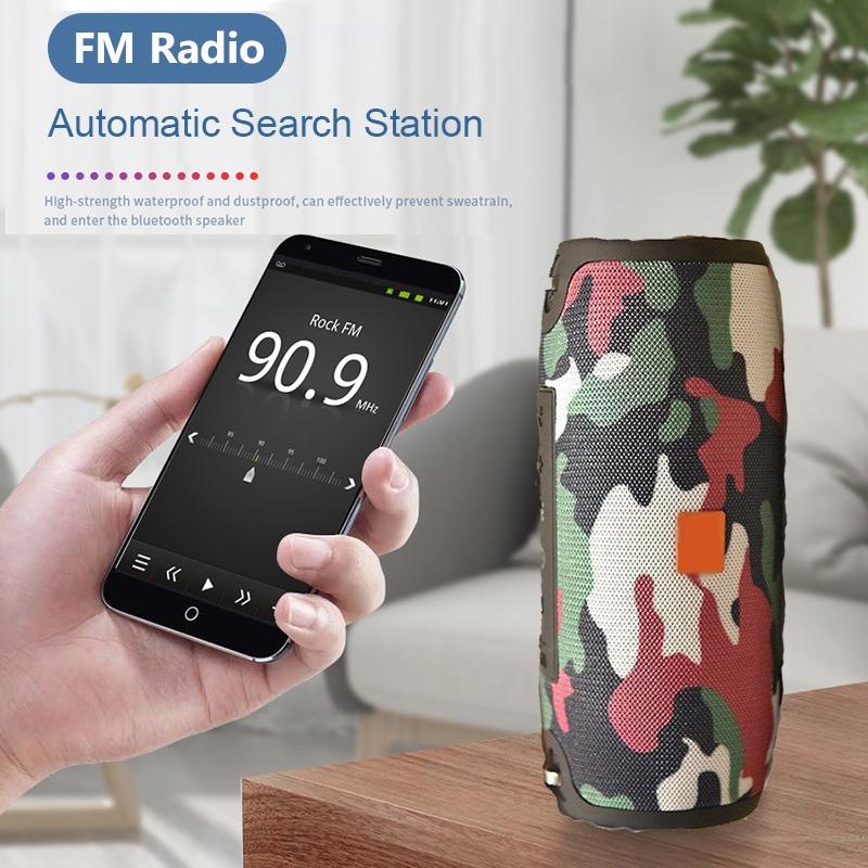 T&G TG118 Portable Column Bluetooth Speaker Music Player Speakers with FM Radio Aux TF Subwoofer Bass Speaker (Black)