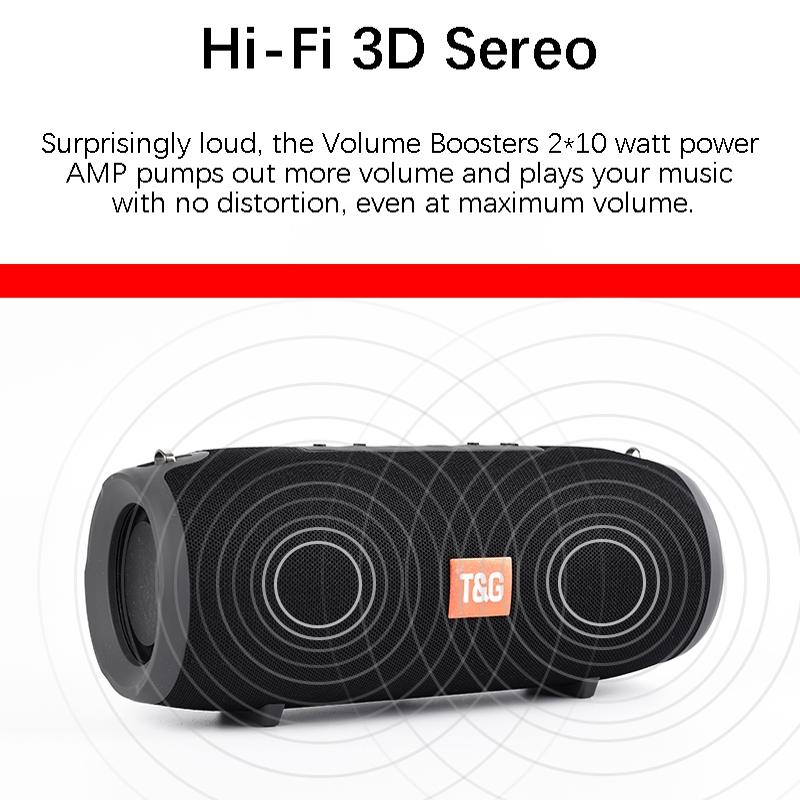T&G TG125 Portable Column Speaker 20W Bluetooth Speaker Music Player Speakers Box with FM Radio Aux TF Subwoofer Bass Speaker (Black)