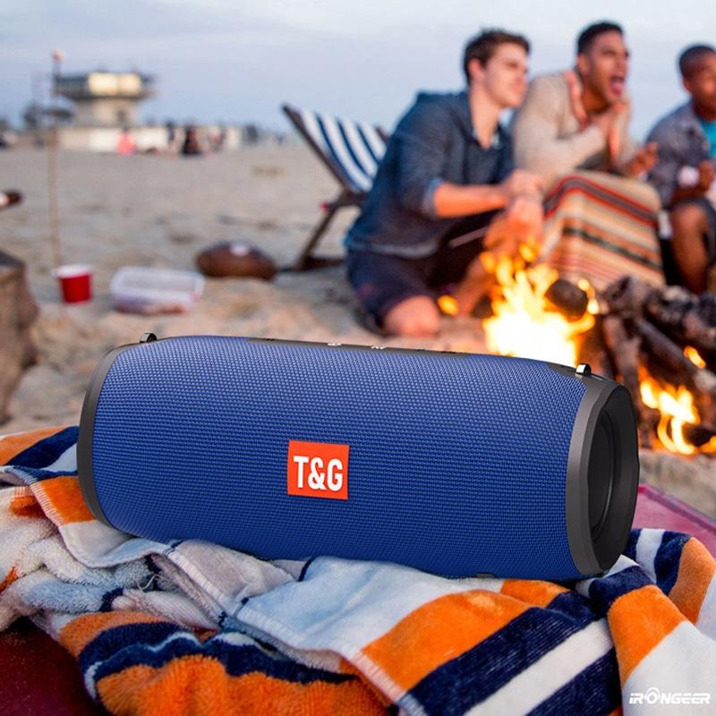 T&G TG125 Portable Column Speaker 20W Bluetooth Speaker Music Player Speakers Box with FM Radio Aux TF Subwoofer Bass Speaker (Blue)
