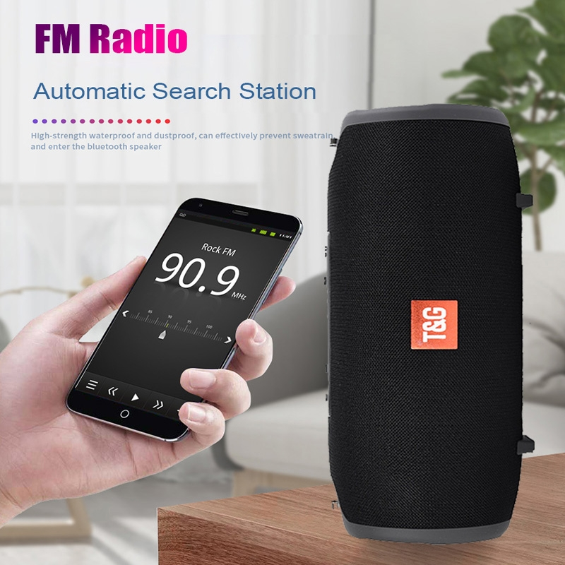 T&G TG125 Portable Column Speaker 20W Bluetooth Speaker Music Player Speakers Box with FM Radio Aux TF Subwoofer Bass Speaker (Red)