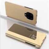 For Xiaomi Redmi Note9 Pro/Note9 Pro Max/Note 9S/Note9 Plated Mirror Horizontal Flip Leather Case with Holder (Gold)