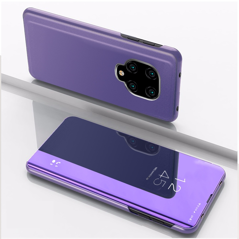 For Xiaomi Redmi Note9 Pro/Note9 Pro Max/Note 9S/Note9 Plated Mirror Horizontal Flip Leather Case with Holder (Purple Blue)