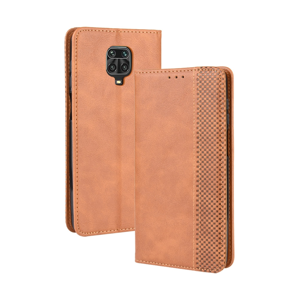For Xiaomi Redmi Note 9 Pro / Note 9s / Note 9 Pro Max Magnetic Buckle Retro Crazy Horse Texture Horizontal Flip Leather Case with Holder & Card Slots & Photo Frame (Brown)
