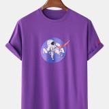 Mens Designer Astronaut License Breathable Crew Neck Short Sleeve T-Shirts