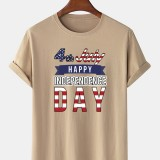 100% Cotton Independence Day Print Crew Neck Short Sleeve T-Shirts
