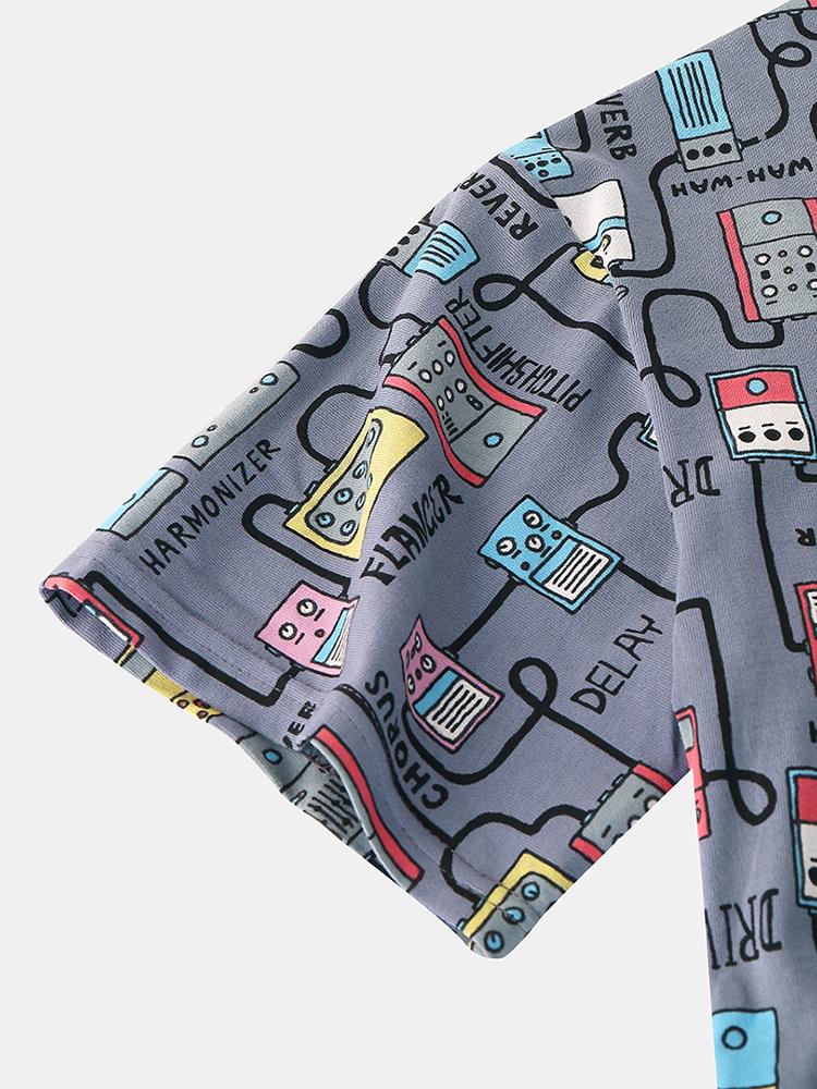 Mens Funny Digital Product Print Casual Crew Neck Short Sleeve T-Shirts