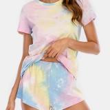Women Tie Dye Pajamas Set Two Pieces Short Sleeve O-Neck Softies Summer Sleepwear