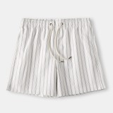 Mens Cozy Stripe Loungewear Shorts Drawstring Quick Drying Loose Mini Shorts