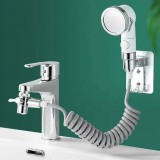 Bathroom Wash Face Basin Water Tap External Shower Head Two Modes Adjustable Spray Hair Washing Faucet Rinser Extension Set