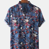 Mens Ethnic Style Clan Printing Breathable Short Sleeve Casual Shirts
