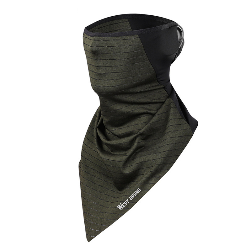 WEST BIKING Unisex Multifunction Ice Silk Triangle Scarf Wind-proof Anti-UV Dust-proof Neck Protector Face Mask Cycling