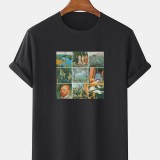 Mens 100% Cotton World Masterpiece Print Crew Neck Short Sleeve T-Shirts