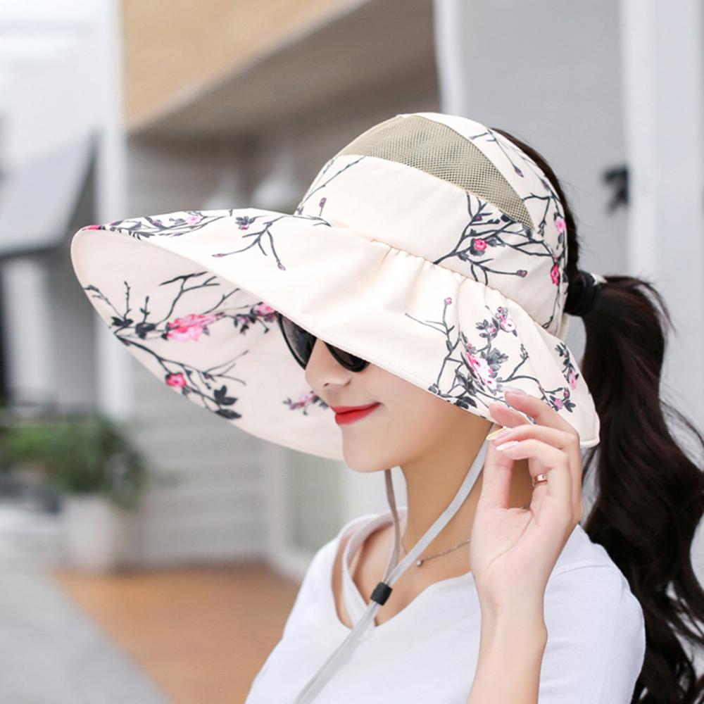 Women's Sun Visor Printed Top Hat Sun Protection Floppy Hat
