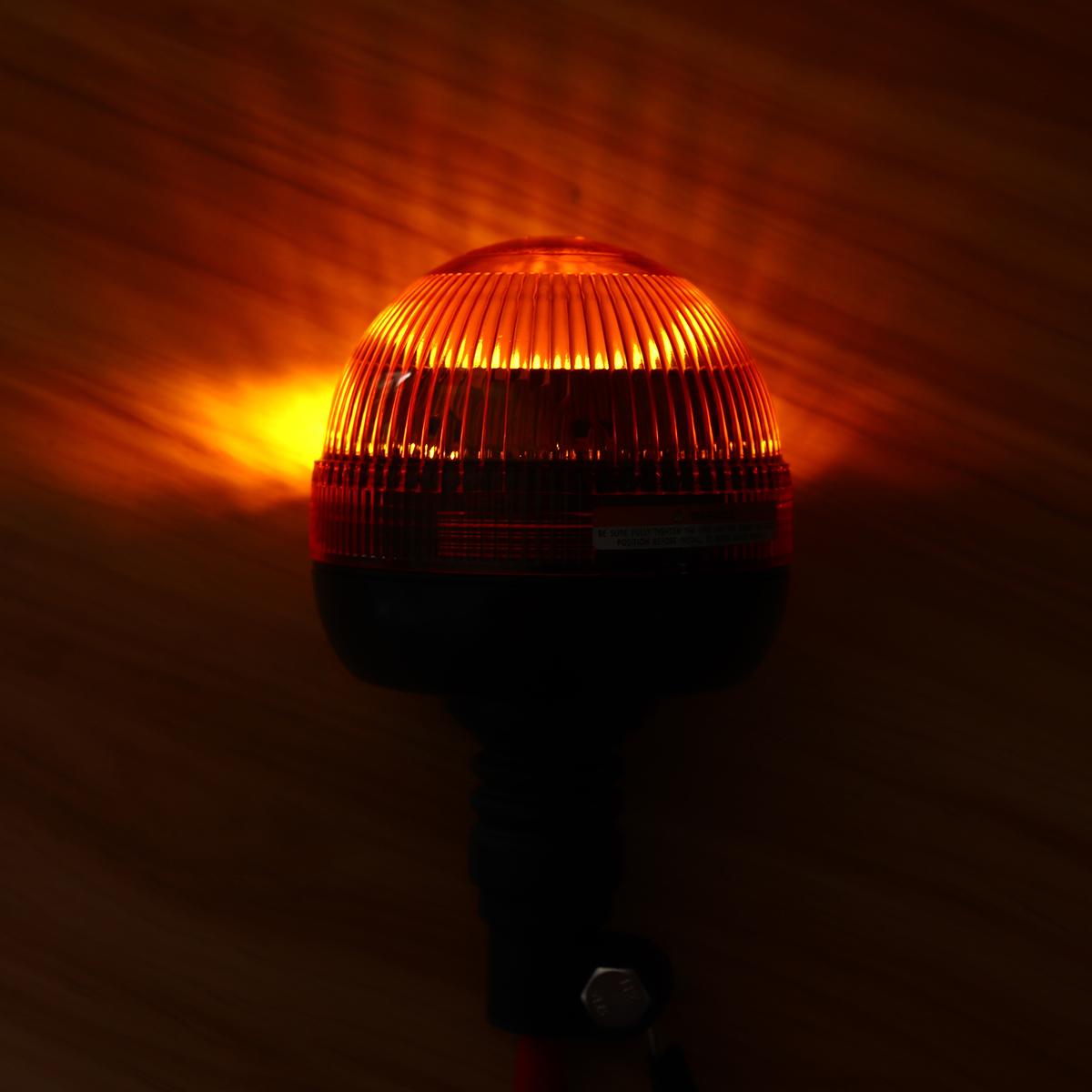 LED Rotating Strobe Flashing Amber Beacon Flexible Tractor Warning Light Car