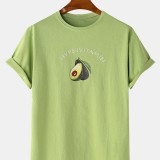 Mens Cotton Fruit Avocado Print Short Sleeve Breathable T-Shirts