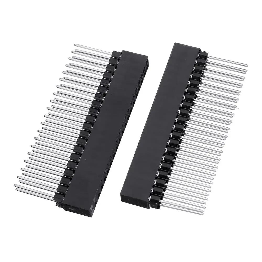 25pcs 2x20 PIN Double Row Straight Female Pin Header 2.54MM Pitch Pin Long 12MM Strip Connector Socket 2*20 40 PIN 2x20pin