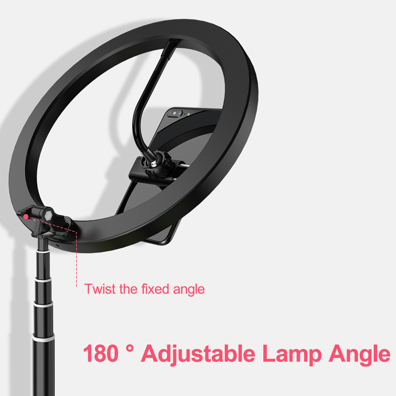 10 Inches 2200-12000K Dimmable LED Selfie Ring Light with Phone Holder Telescopic Base for TikTok Youtube Video Live