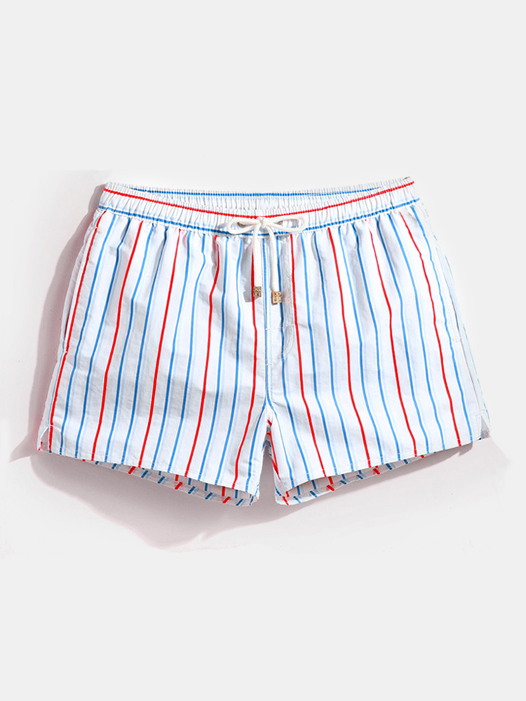Men Stripe Swimming Shorts Drawstring Quick Drying Holiday Mini Shorts for Running Lounge Shorts