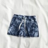 Women Tie-dye Print Home Sports Casual Shorts