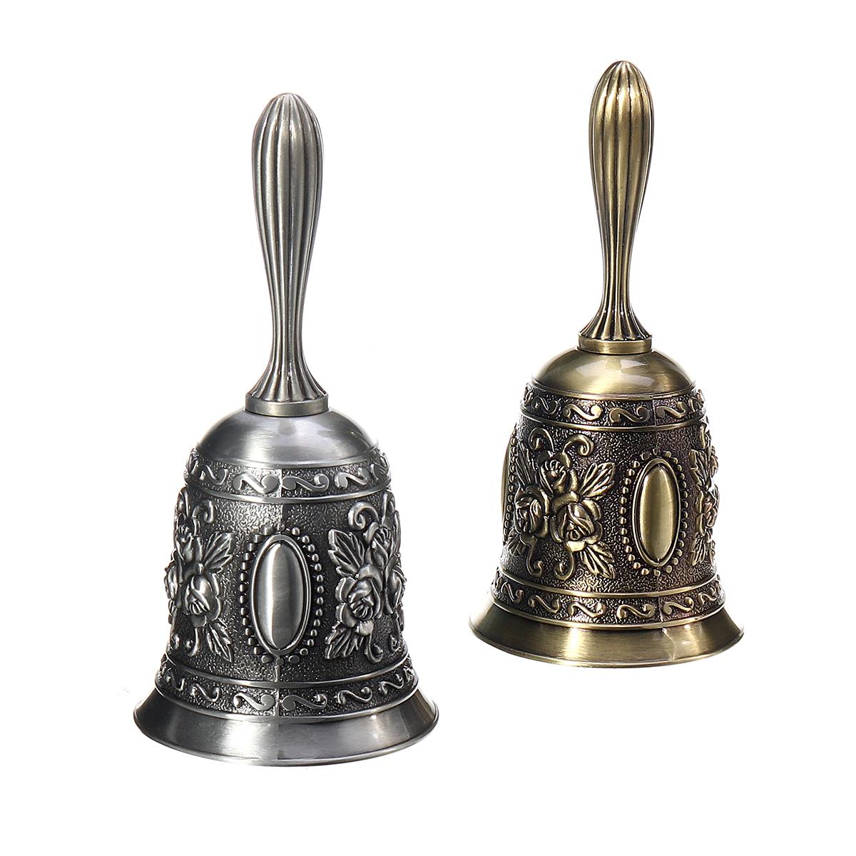 Retro Metal Tone Copper School Dinner Shop Hand Bell Tea Bell Hand Held 2.2x4.5