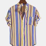 Mens Vertical Stripe Casual Chest Pocket Short Sleeve Shirts