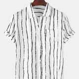 Mens Holiday Stripe Chest Pocket Breathable Short Sleeve Casual Shirts