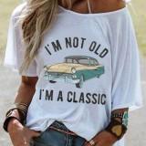 Alphabet Car Pattern Print Women Casual Loose Short Sleeve Blouse