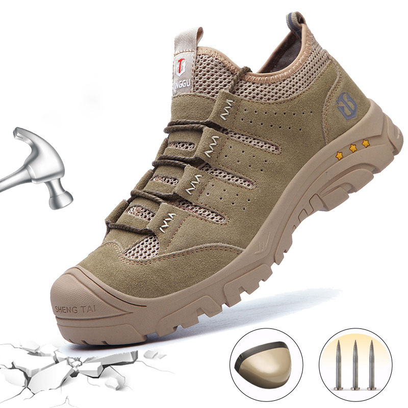 AtreGo Mens Safety Work Shoes Steel Toe Leather Breathable Hiking Anti-puncture