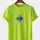 Mens Cartoon Alien Print Crew Neck Short Sleeve Casual T-Shirts