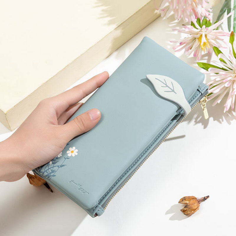Women 13 Card Slots Bifold Flower Printed Long Wallet Clutches Bag