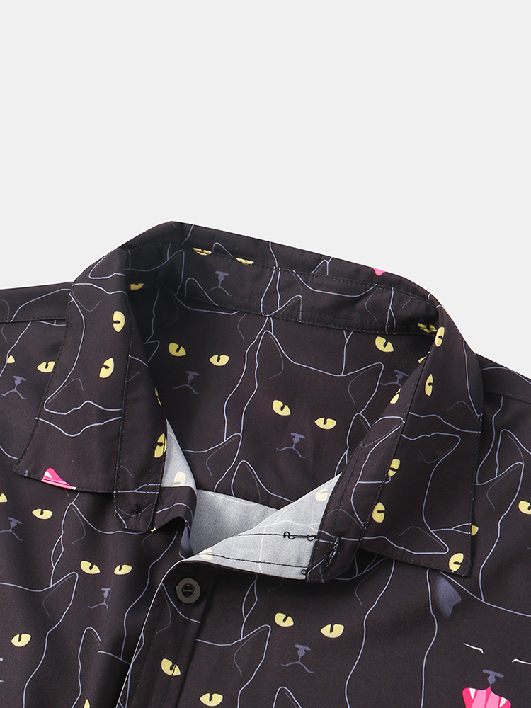 Mens Funny Cartoon Black Cat Print Casual Short Sleeve Shirts Short Sleeve Lapel Collar Shirts