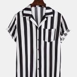 Mens Stripe Chest Pocket Revere Collar Short Sleeve Casual Shirts