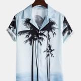 Mens Tropical Coconut Tree Print Lapel Collar Short Sleeve Hawaii Casual Shirts