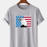 100% Cotton American Flag Print Crew Neck Short Sleeve T-Shirts