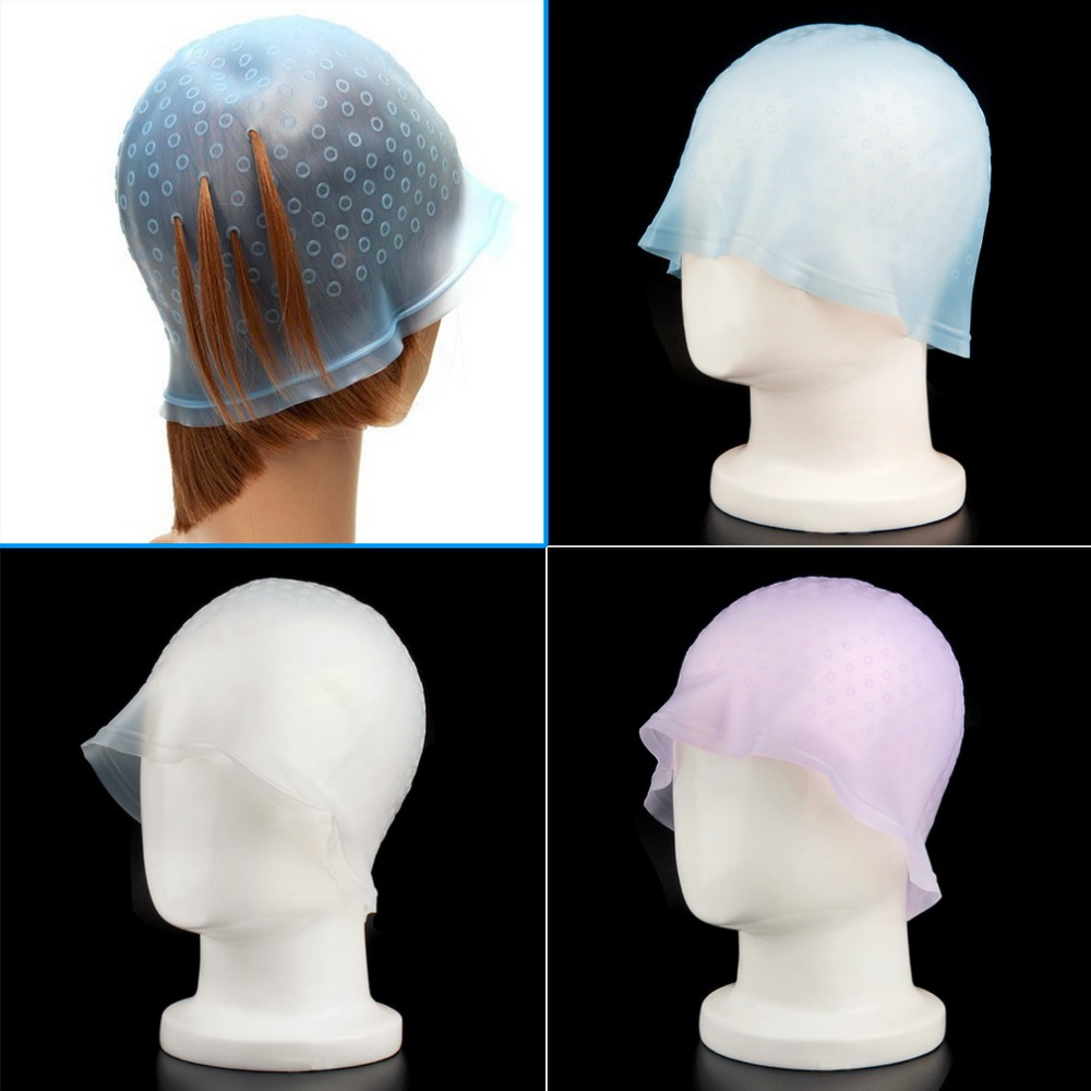 Pro Salon Dye Silicone Cap+Hook Hair Salon Color Coloring Highlighting Reusable Set Frosting Tipping Dyeing Color Tools