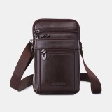 Men Vintage Genuine Leather Waist Bag 7inch Phone Bag Crossbody Bag Shoulder Bag