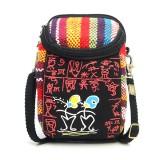 Fashion Ethnic Style Casual Mini Zipper Canvas Women Phone Bag Crossbody Bag Messenger Bag