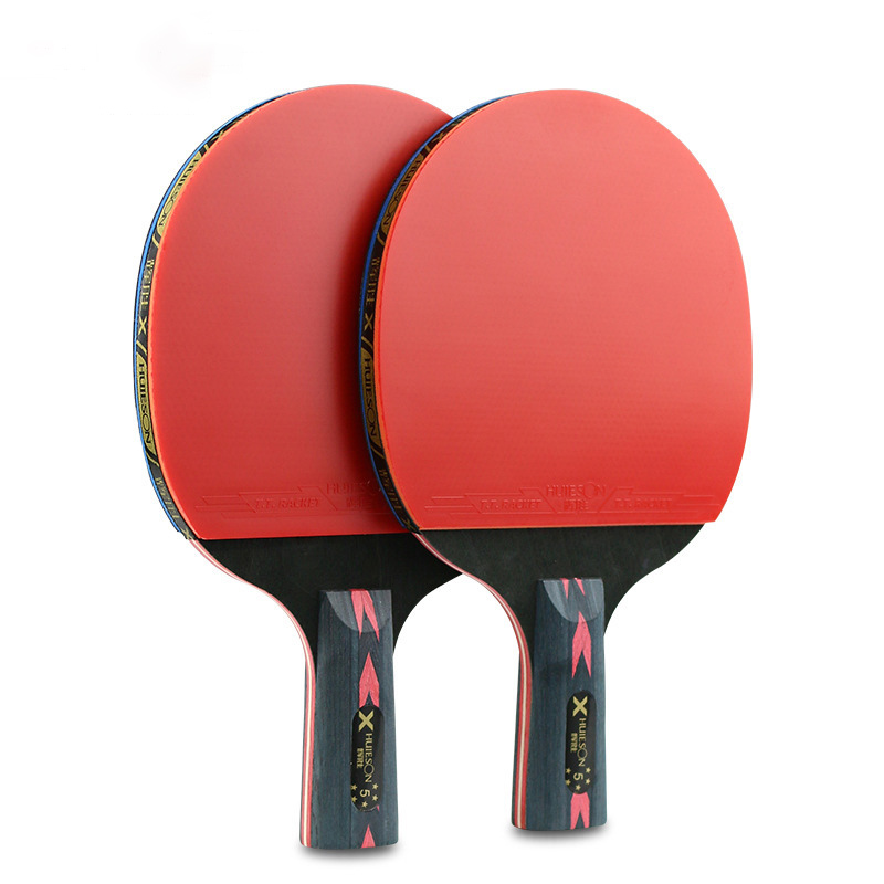 2 Pcs Table Tennis Racket Professional Wood Rubber Table Tennis Paddle Sport Equipment