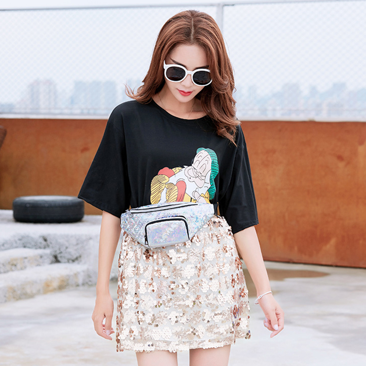 Fashion Casual Laser Glitter with Belt Unisex Phone Storage Waist Bag Coin Money Pouch Bag Messenger Bag
