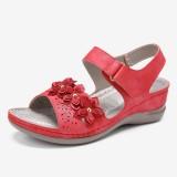 LOSTISY Women Hook Loop Flower Decro Open Toe Comfy Wedge Sandals