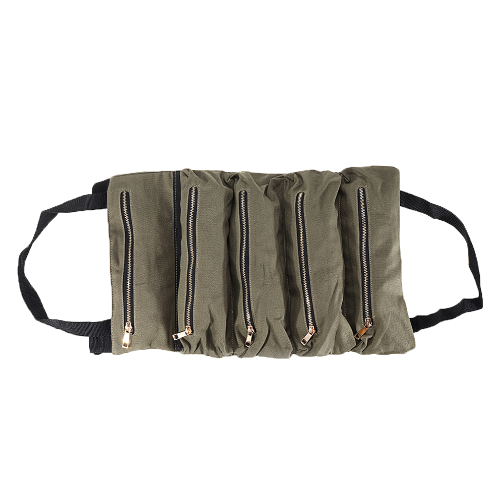 Handheld Foldable Canvas Storage Tool Bag Portable Toolbag Repair Hand Toolkit Metal Screws Drill Plier Wrench Woodworking Tool Organizer